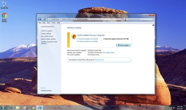 Windows 7 update prompt