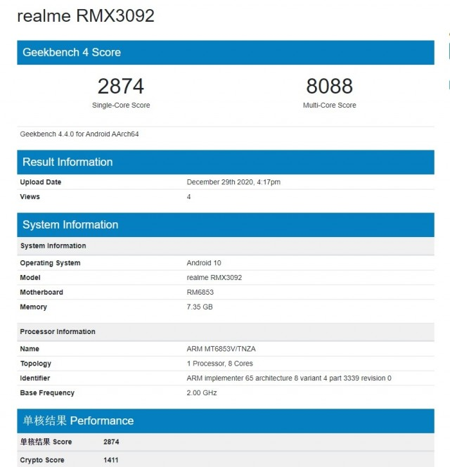 Alleged Realme 8 on Geekbench