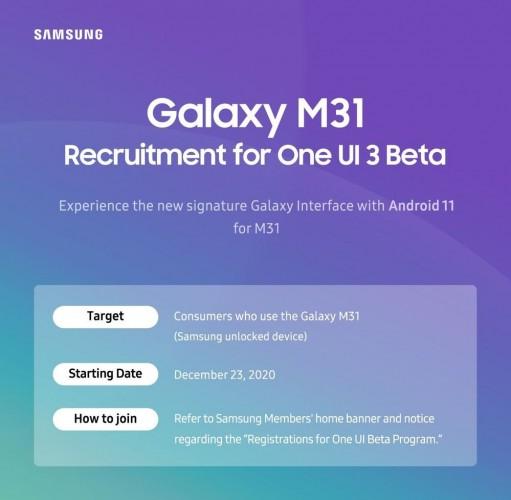 Samsung announces One UI 3.0 beta for Galaxy M31