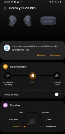 Galaxy Buds Pro features within Galaxy Wearable app