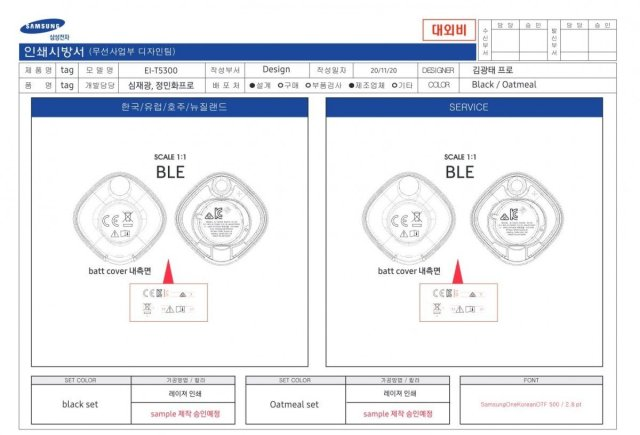 Samsung Galaxy Smart Tag Design Schematic South Korea Certification Agency