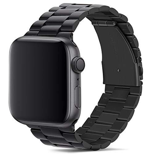 Tasikar pour Bracelet Apple Watch 42mm 44mm Premium Métal en Acier Inoxydable Bracelet de Remplacement Compatible avec Apple Watch Se Séries 6 Séries 5/4 (44mm) Séries 3/2/1 (42mm) - Noir