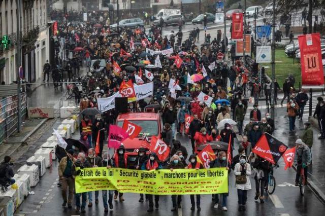 Manifestation contre la loi sécurité globale à Nantes, le 16 janvier 2021.
