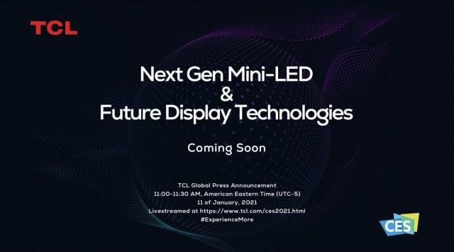 TCL to showcase its mini-LED TVs at CES 2021