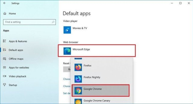 Windows 10 settings select default browser