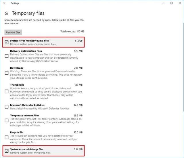 Windows 10 delete System Error Memory Dump Files with Settings