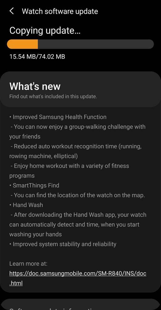 Samsung Galaxy Watch 3 SmartThings Find Update