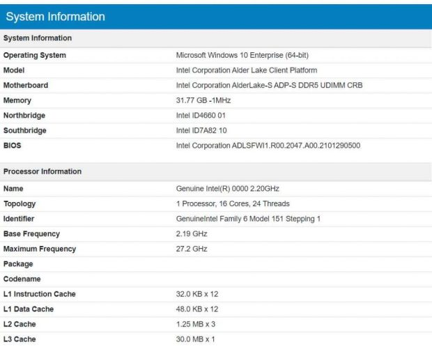 Processeur Intel Alder Lake-s 16C/24T sous GeekBench 4