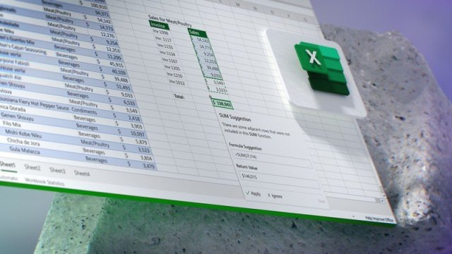 Future of Microsoft 365 concept showing Excel formula suggestions.