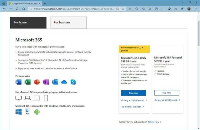 Microsoft 365 product page