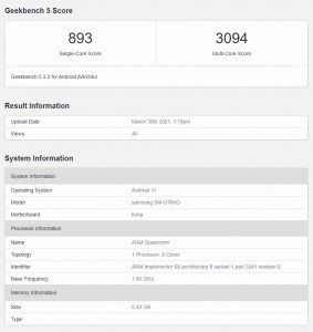 Samsung Galaxy S20 FE (4G but with Snapdragon 865): Geekbench result