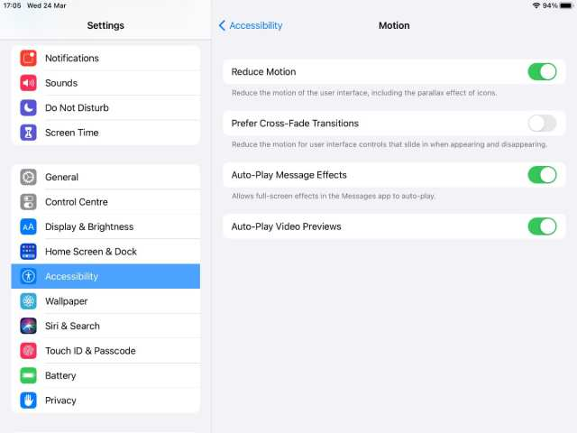 Reduce Motion option in iPad settings.