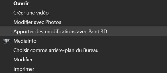 Windows 10 et l'entrée « Apporter des modifications avec Paint 3D » du menu contextuel.