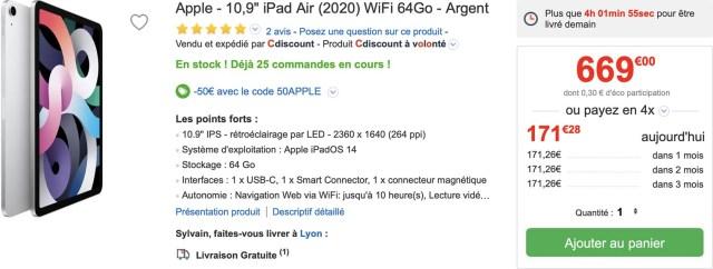 iPad Air 4 CDiscount