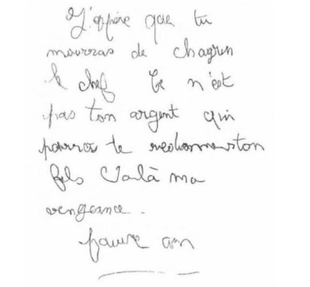 Extrait de la lettre du corbeau revendiquant le meurtre du petit Grégory.