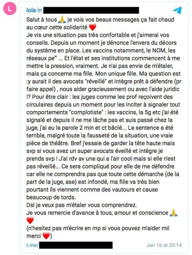 Lola Montemaggi lance un appel à l'aide sur un groupe Telegram après un jugement qui lui interdit de voir sa fille seule, le 16 janvier 2021. (LOLA MONTEMAGGI / TELEGRAM)