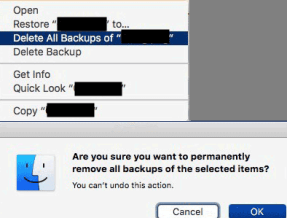mac time machine delete all backups of selected item