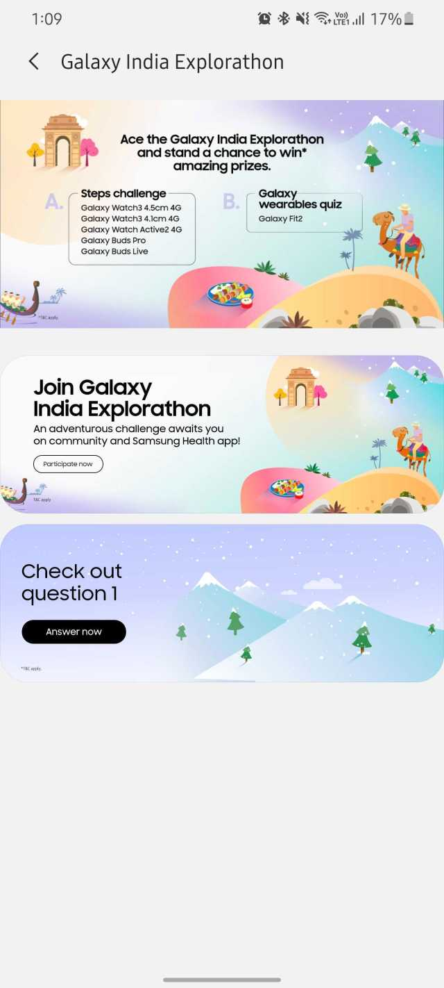 Samsung Galaxy India Explorathon Contest