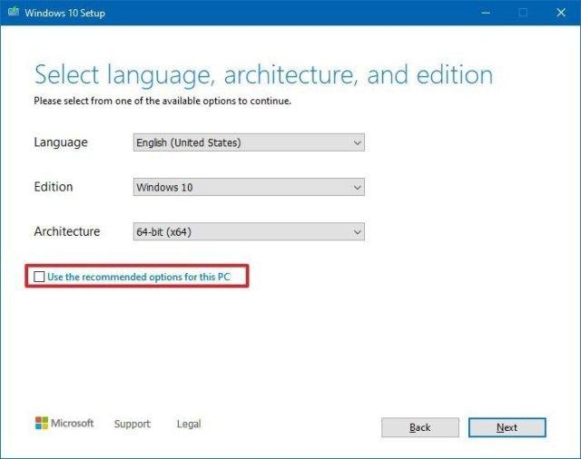 Change architecture settings of Windows 10