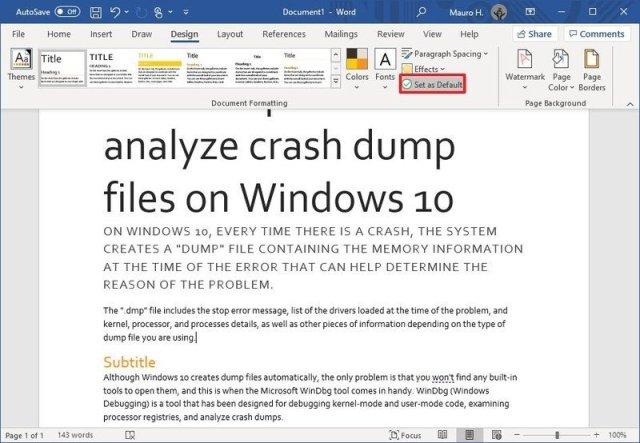 Microsoft Word set theme as default