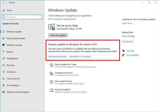 Windows 10, 21H1 fait son apparition dans Windows Update