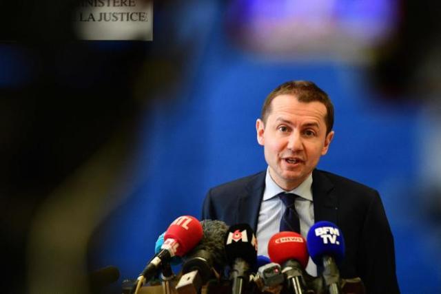 Le procureur de la République Nicolas Heitz, lors de la conférence de presse donnéele 16 avril à Epinal à propos de l'avancée de l'enquête sur l'enlèvement de la jeune Mia, 8 ans, kidnappée par ruse par trois hommes mardi matin.