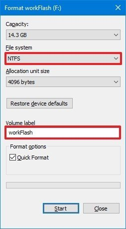 Quick format option in FIle Explorer
