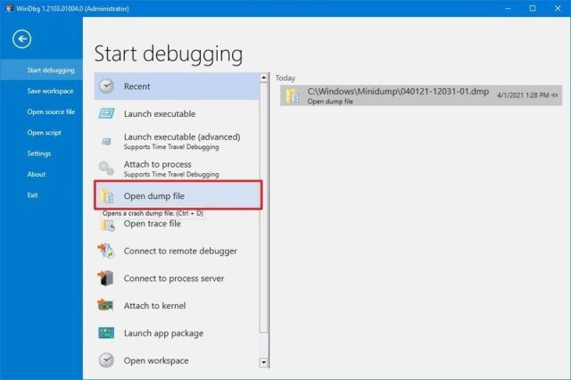 Windbg open dump file on Windows 10