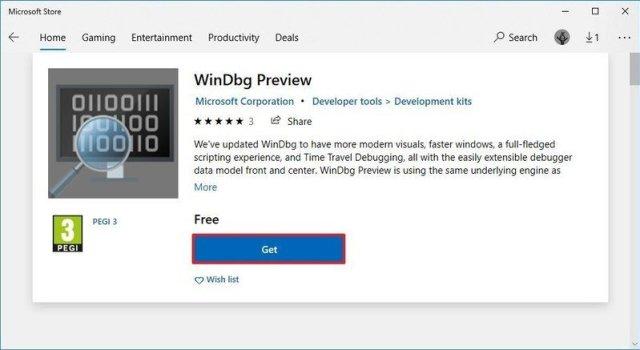 Download Windbg on Windows 10