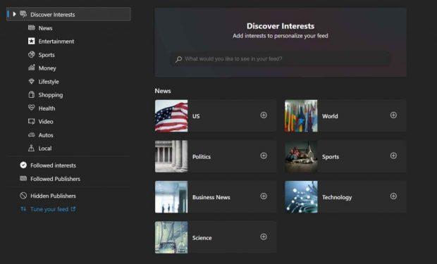 Service Discover Interets pour personnaliser les flux de Bing News