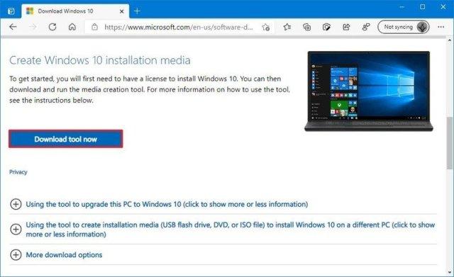 Windows 10 version 21H1 Media Creation Tool