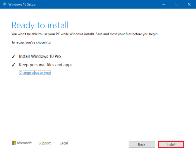 Install Windows 10 version 21H1 with Media Creation Tool