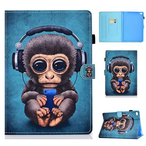 Succtop Coque iPad 5è/6è Generation 9.7 Pouce 2020/2018 Étui Cuir PU Flip Housse Portefeuille Stand Cover Con Fente pour Stylo Veille/Réveil Auto pour iPad Air 9.7 Pouce, Music Monkey