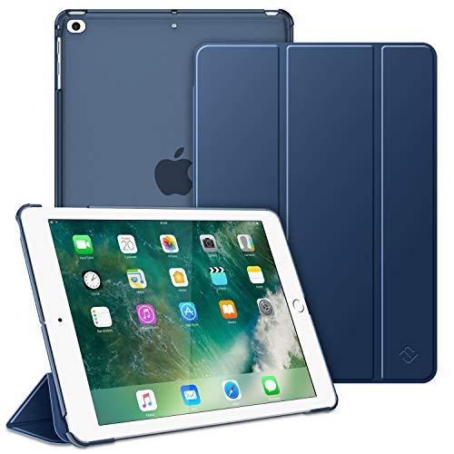 FINTIE Coque pour iPad 6ème/5ème Génération Version 9.7 Pouces 2018/2017 - Etui Mince et Léger Housse Arrière Semi-Transparent Support Protecteur Sommeil/Réveil Automatique, Bleu Marine