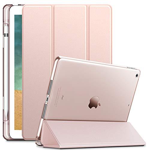 INFILAND Coque Compatible for iPad 2018, Housse Étui avec Apple Pencil Holder Support Fonction et Veille/Réveil Automatique Coque pour iPad 6e Generation 9,7 Pouces, Rose Or