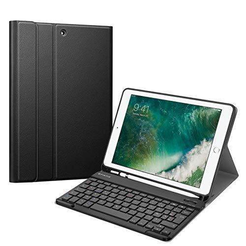 FINTIE Coque Clavier pour iPad 5e/6e Génération, iPad Air 2/1 avec Porte-Stylo Pencil, Clavier AZERTY Français Bluetooth Détachable Magnétiquement, Étui Housse en TPU Souple, Noir