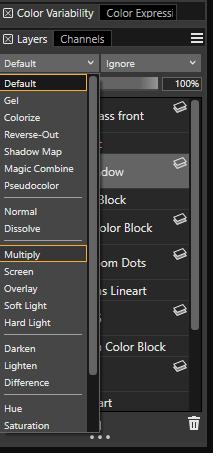 Multiply layer palette drop down corel painter 2019