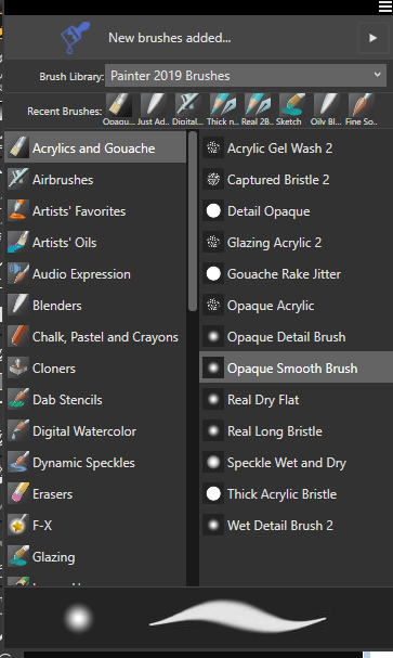 Acrylic Brush Selection in Corel Painter 2019