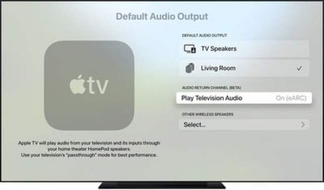 tvos14 settings video audio default audio output homepod selected