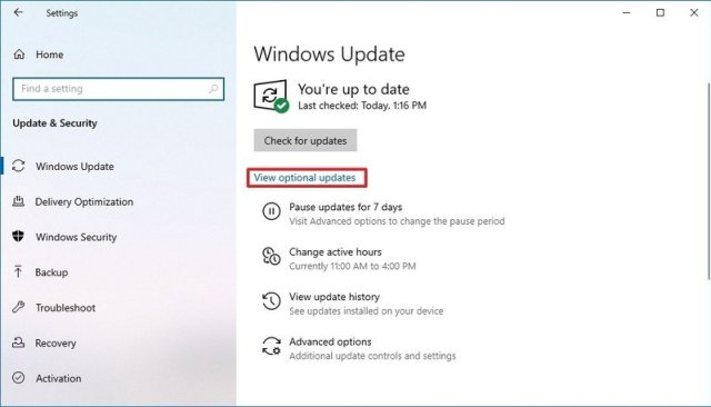 Windows 10 Optional Updates Drivers