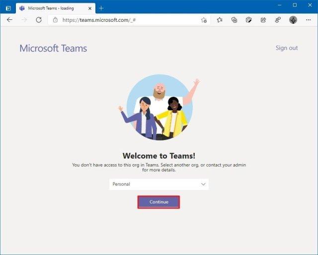 Microsoft Teams select organization