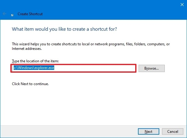 Shortcut program location