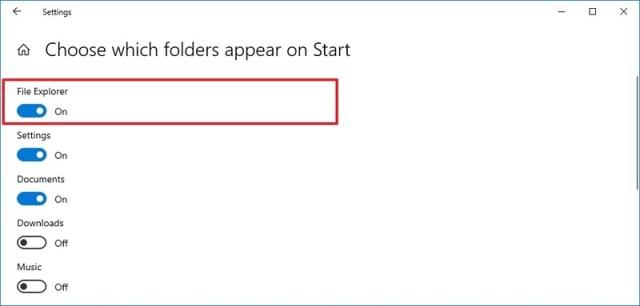 Start menu settings enable File Explorer