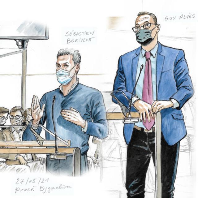 Sébastien Borivent et Guy Alvès, lors du procès Bygmalion, au tribunal correctionnel de Paris, le 27 mai 2021.