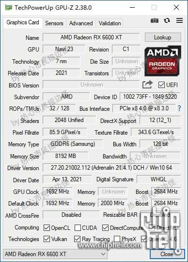 Radeon RX 6600 XT, GPU-Z