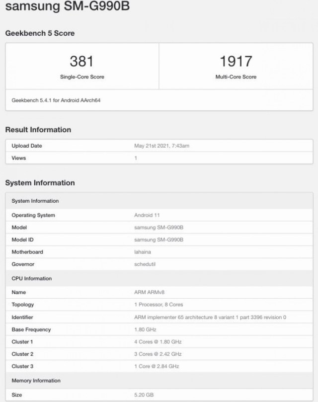 Samsung Galaxy S21 FE will have Snapdragon 888, according to Geekbench