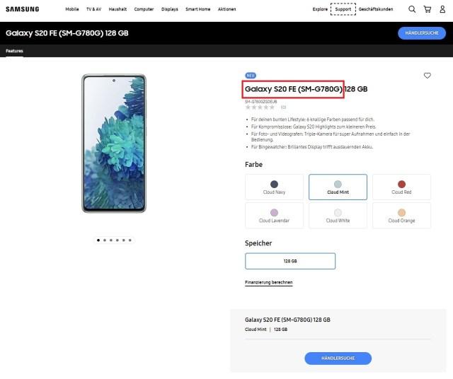 Samsung Galaxy S20 FE 4G (SM-G780G) Snapdragon 865 Germany