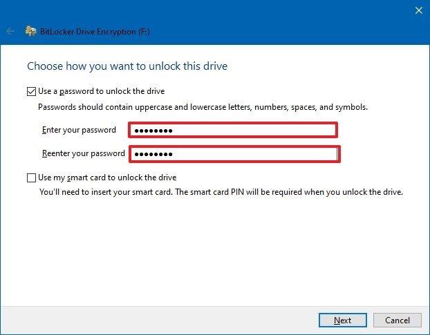 BitLocker To Go create password