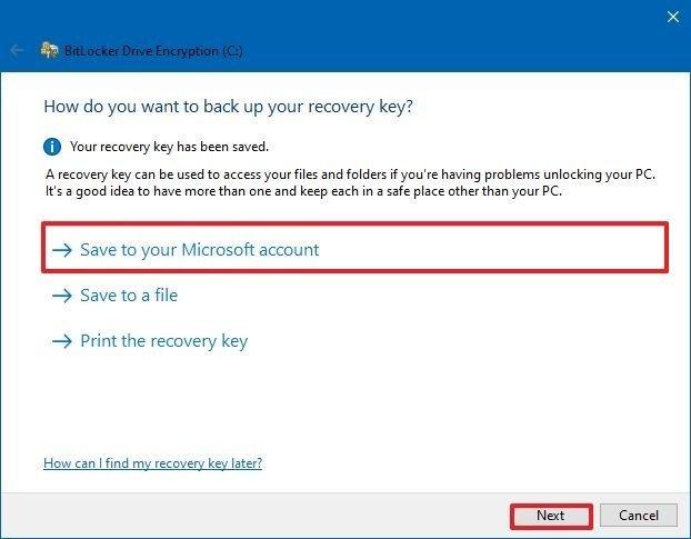 BitLocker save encryption key