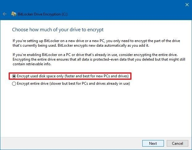 Choose how much of your drive to encrypt
